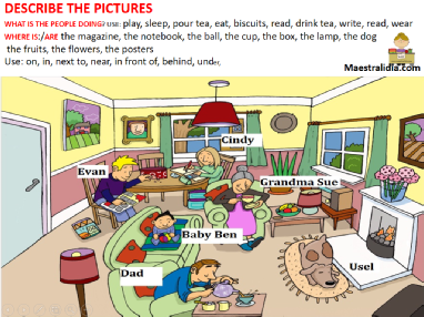 DESCRIBE THE PICTURES-present continuos-prepositions conversation.ppsx